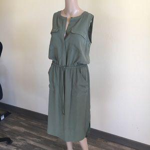 Merona sleeveless cinch waist green dress
